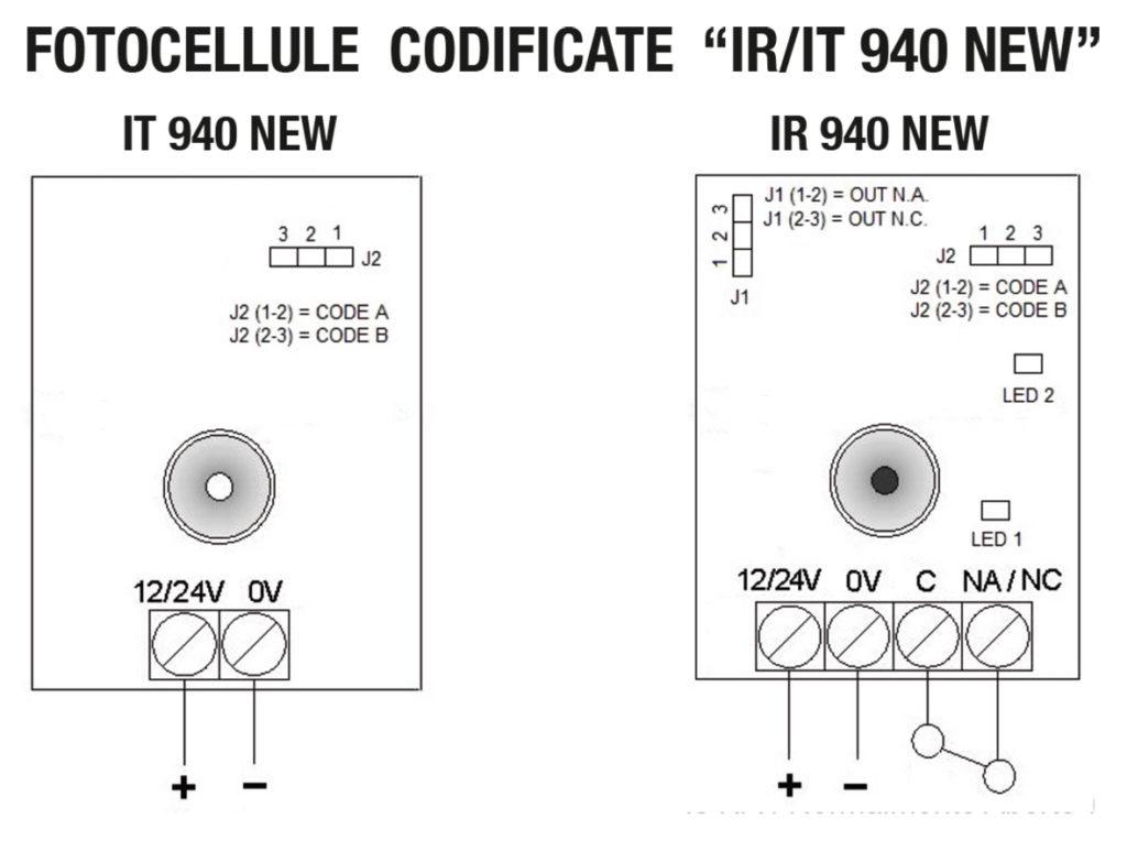 Seav ir it 940 new fotocellule a infrarossi universali 12 for Fotocellule came schema elettrico