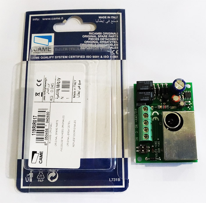 CAME 119RIR017 scheda ricambio fotocellula ricevente DOC-E