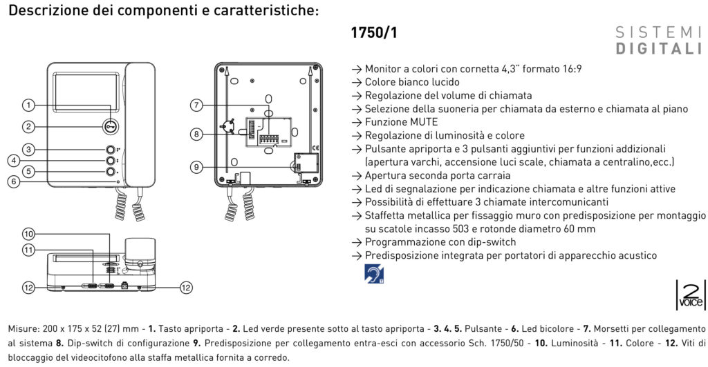 Urmet 1750 1 scheda vendita online materiale elettrico for Citofono urmet 1130 schema