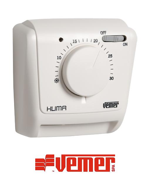 Vemer klima si termostato ambiente meccanico da parete for Termostato vemer istruzioni